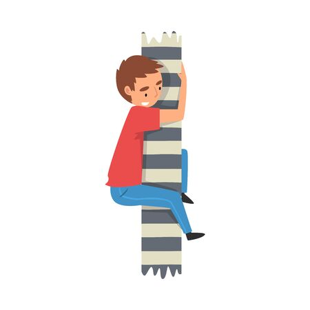 Cute Boy Climbing on a Stripped Pole Vector Illustration on White Background.