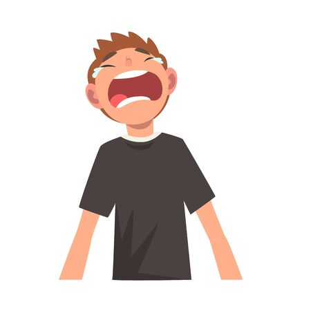 Unhappy Crying Boy, Male Character Facial Emotions Vector Illustration on White Background. Illustration