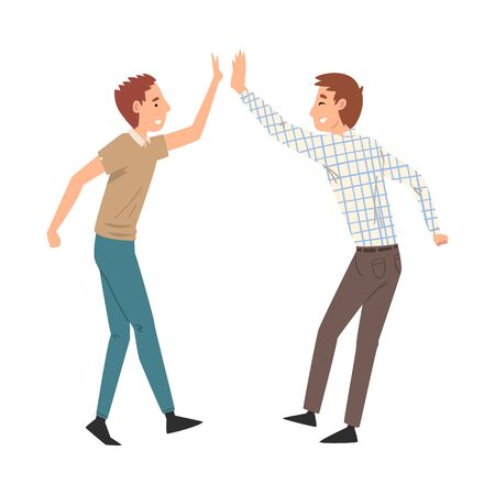 Two Men Giving High Five to Each Other, Meeting of Two People, Greeting of Freinds Vector Illustration on White Background.