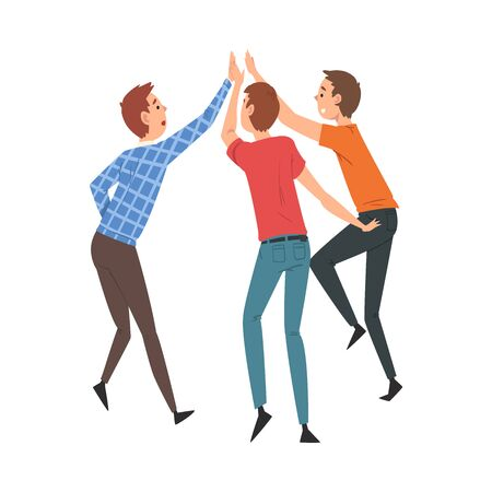 Young Men Giving High Five to Each Other, Meeting of People, Greeting of Freinds or Partners Vector Illustration on White Background.