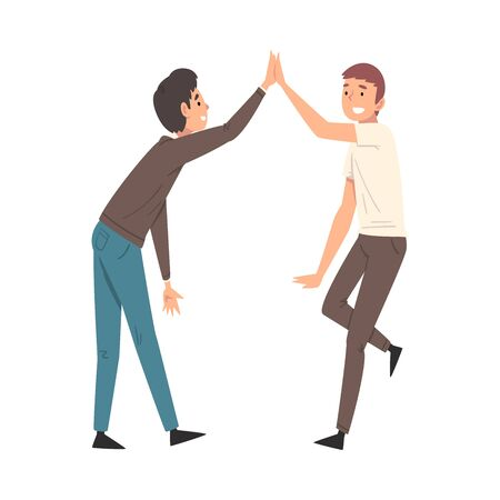 Two Men Giving High Five to Each Other, Meeting of Two People, Greeting of Freinds or Partners Vector Illustration on White Background.