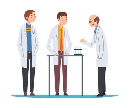 Male Scientists in Lab Coats Doing Research and Experiments in Scientific Lab Vector Illustration