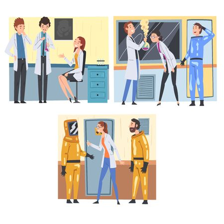 Scientists and Assistants Doing Research, Experiments and Analysis in Scientific Lab Vector Illustration