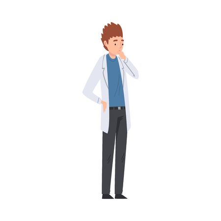 Thoughtful Male Scientist Character in White Lab Coat Working in Scientific Lab Vector Illustration Illusztráció