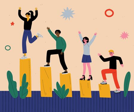 Successful People Celebrating Victory, Group of Men and Women Climbing Up Rising Financial Chart Vector Illustration