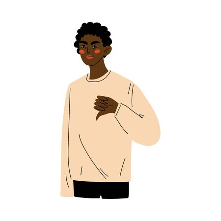 Young African American Man Showing Dislike Sign, Guy Doing Disapproval Gesture Vector Illustration