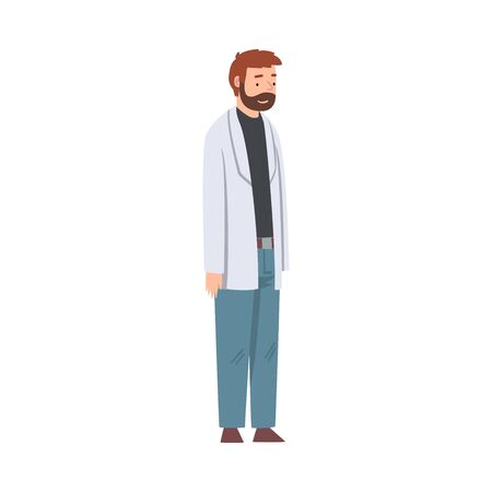 Male Scientist Character in Lab Coat Doing Research in Scientific Lab Vector Illustration Иллюстрация