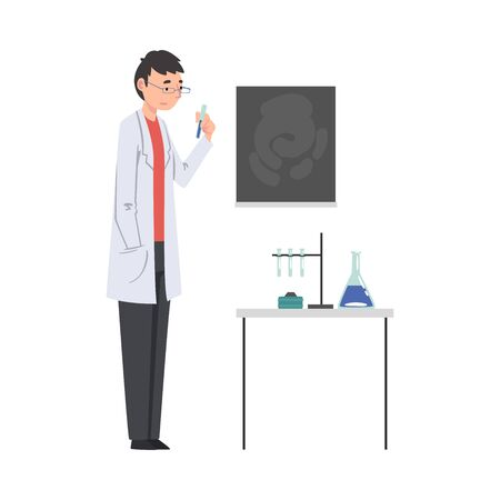 Male Scientist in Lab Coat Doing Research in Scientific Lab Vector Illustration