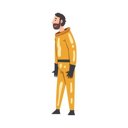 Scientist in Orange Protective Suit Working in Scientific Lab Vector Illustration
