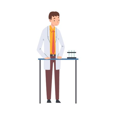 Male Scientist in Lab Coat Doing Research and Analysis in Scientific Lab Vector Illustration