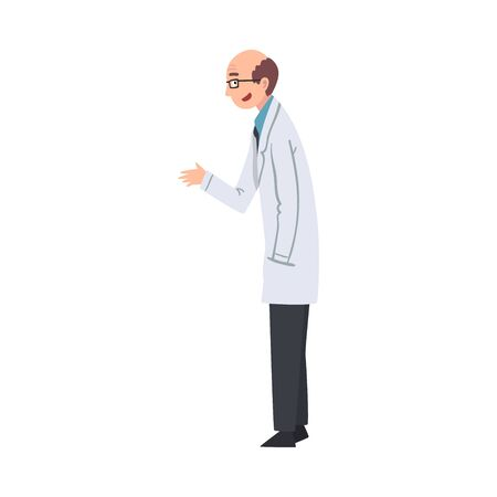 Male Scientist Character in White Lab Coat Vector Illustration