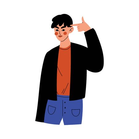 Young Man Showing Finger Gun Gesture, Bored Guy Gesturing to Pretending Killing Himself Vector Illustration on White Background.