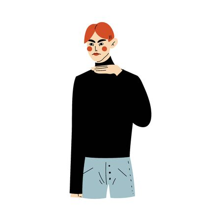 Junger Mann, der Geste satt zeigt, indem er den Hals mit seiner Hand-Vektor-Illustration auf weißem Hintergrund durchschneidet.