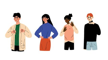 People Gesturing, Young Men and Women Showing Various Negative Gestures Vector Illustration