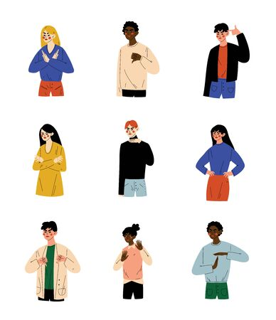 People of Different Nations Showing Various Gestures Set, Young Men and Women Doing Negative Gestures Vector Illustration on White Background. Stock Vector - 132859766
