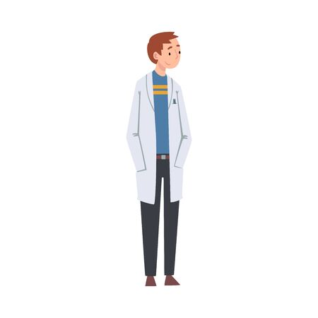 Young Man Scientist Character in White Lab Coat Vector Illustration on White Background.