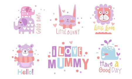 Set of cute pink and lilac animals. Vector illustration.