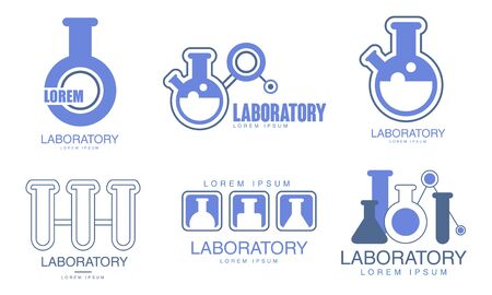 Set of blue  for the laboratory. Vector illustration.  イラスト・ベクター素材