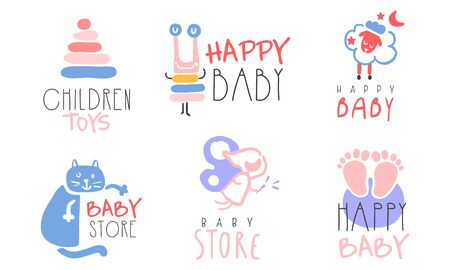 Set of pink and blue labels for the newborn. Vector illustration on a white background. Illustration
