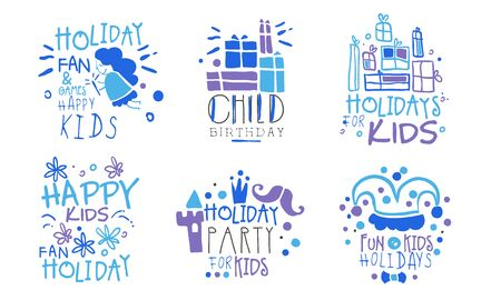 Set of blue outline pictures of gifts, fairies, castles and inscriptions for a childrens holiday. Vector illustration.