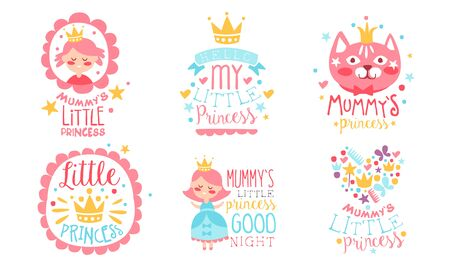 Set of cute inscriptions from mom and pictures with a cat and a crown for a little princess. Vector illustration. Stock fotó - 132975979