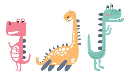 Three cute colorful dinosaurs. Vector illustration on a white background.