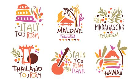 Set of minimalistic  for a travel agency with the image of the sights of different countries. Vector illustration. Фото со стока - 132975033