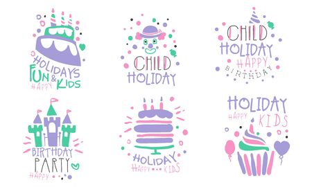 Set of blue with pink inscriptions and clonua envelopes, cakes and castles for a childrens holiday. Vector illustration on a white background.