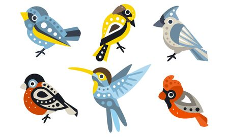 Set of different geometric birds. Vector illustration on a white background.