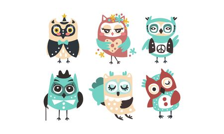 Set of cartoon owls. Vector illustration on a white background. Illustration