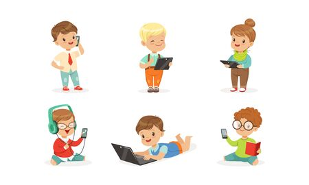 Children with modern gadgets. Vector illustration on a white background.
