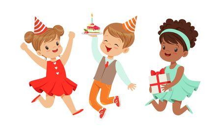 Children celebrate a birthday. Vector illustration on a white background.