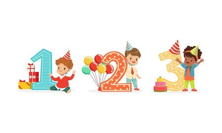 Children stand next to the big numbers. Vector illustration on a white background. Ilustrace