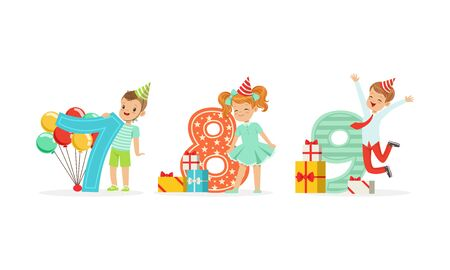 Boys and girls are standing next to the big numbers. Vector illustration on a white background.