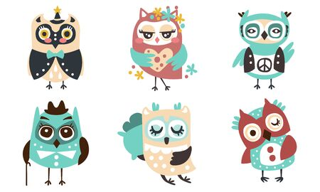 Cute little owl of different breeds. Vector illustration on a white background.