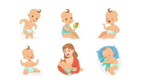 Cute babies in different situations. Vector illustration on a white background. Stok Fotoğraf - 134691519
