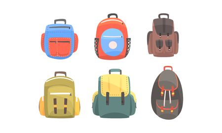Set of backpacks for hiking. Vector illustration on a white background.