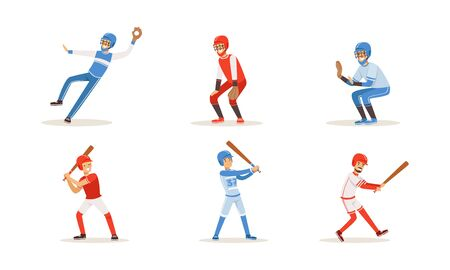 Men in sports uniforms play baseball. Vector illustration on a white background.