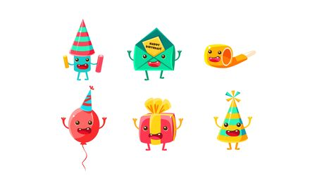 Set of humanized accessories for a birthday. Vector illustration on a white background.