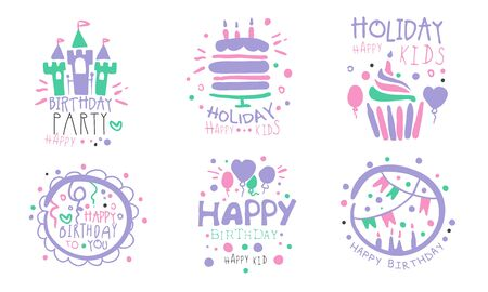 birthday party for a girl. Vector illustration on a white background.