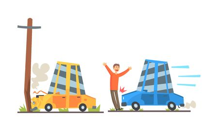 Blue and orange mini crashed. I crashed into a pole and knocked down a pedestrian. Vector illustration on a white background. Illustration