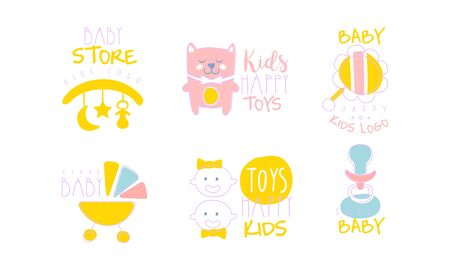 Set of cute inscriptions and toys for the newborn. Vector illustration.