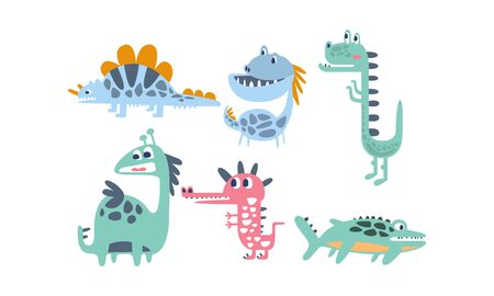 Set of cartoon blue dinosaurs. Vector illustration on a white background. 矢量图像
