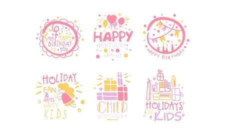 Set of pink outline pictures with inscriptions for a childrens holiday. Vector illustration.