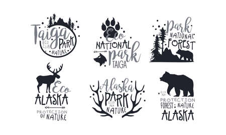 Set of black icons in support of forest protection. Vector illustration.