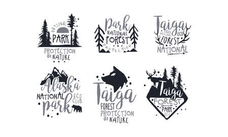 Set of black icons in support of national parks. Vector illustration. Иллюстрация