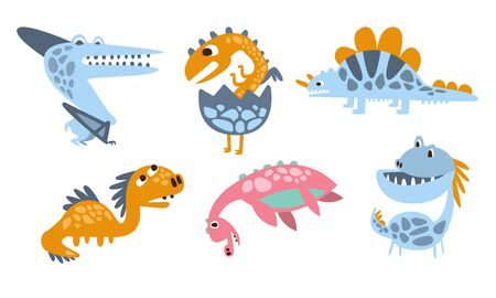 Cute cartoon dinosaurs. Vector illustration on a white background.