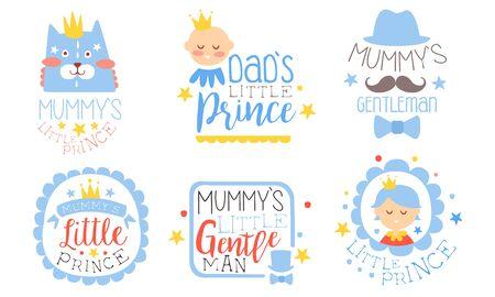 Set of blue contour pictures for parents. Vector illustration.