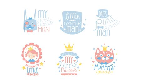 Set of cute pink and blue lettering and images for little girls and boys. Vector illustration.  イラスト・ベクター素材