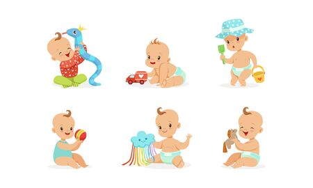 Cartoon babies with toys. Vector illustration on a white background. Stok Fotoğraf - 134691512